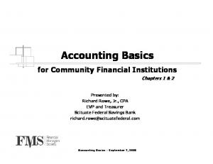 Accounting Basics. for Community Financial Institutions