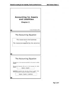 Accounting for Assets and Liabilities