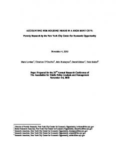 ACCOUNTING FOR HOUSING NEEDS IN A HIGH RENT CITY: Poverty Research by the New York City Center for Economic Opportunity