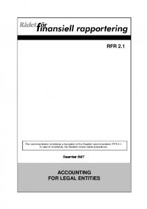 ACCOUNTING FOR LEGAL ENTITIES