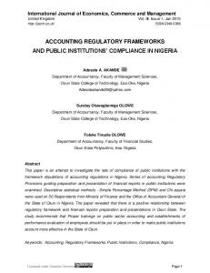 ACCOUNTING REGULATORY FRAMEWORKS AND PUBLIC INSTITUTIONS COMPLIANCE IN NIGERIA