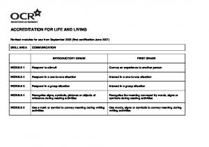 ACCREDITATION FOR LIFE AND LIVING