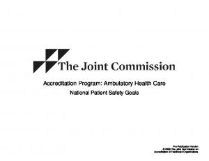 Accreditation Program: Ambulatory Health Care