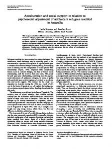 Acculturation and social support in relation to psychosocial adjustment of adolescent refugees resettled in Australia