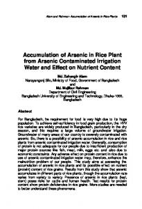 Accumulation of Arsenic in Rice Plant from Arsenic Contaminated Irrigation Water and Effect on Nutrient Content
