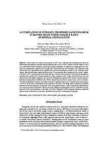 ACCUMULATION OF NITROGEN, PHOSPHORUS AND POTASSIUM IN MATURE MAIZE UNDER VARIABLE RATES OF MINERAL FERTILIZATION