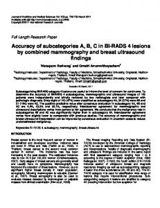 Accuracy of subcategories A, B, C in BI-RADS 4 lesions by combined mammography and breast ultrasound findings