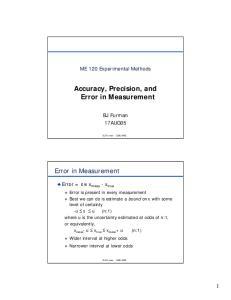Accuracy, Precision, and Error in Measurement