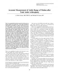 Accurate Measurement of Ankle Range of Motion after Total Ankle Arthroplasty