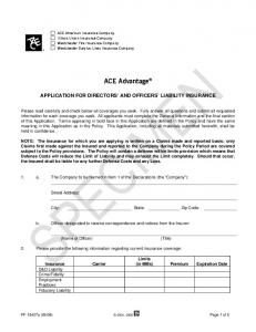 ACE Advantage APPLICATION FOR DIRECTORS AND OFFICERS LIABILITY INSURANCE