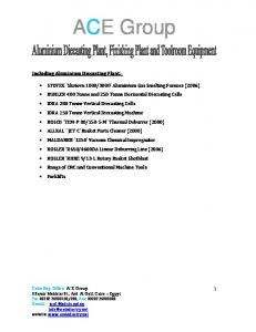 ACE Group. Including Aluminium Diecasting Plant:-