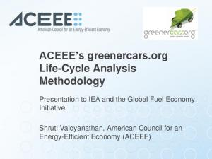 ACEEE s greenercars.org Life-Cycle Analysis Methodology