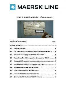 ACEP inspection of containers: