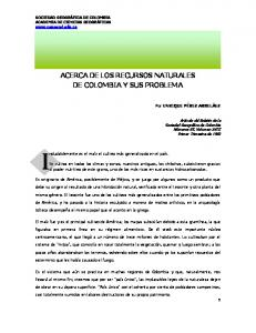 ACERCA DE LOS RECURSOS NATURALES DE COLOMBIA Y SUS PROBLEMA