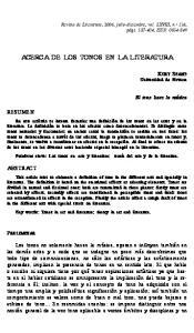 ACERCA DE LOS TONOS EN LA LITERATURA