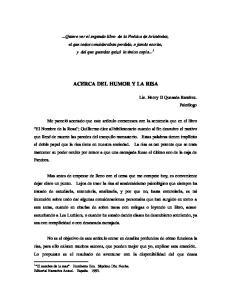 ACERCA DEL HUMOR Y LA RISA