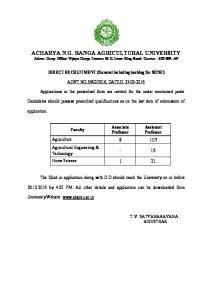 ACHARYA N.G. RANGA AGRICULTURAL UNIVERSITY Admn. Camp Office: Vijaya Durga Towers: M.G. Inner Ring Road: Guntur : AP