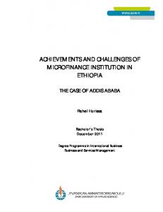 ACHIEVEMENTS AND CHALLENGES OF MICROFINANCE INSTITUTION IN ETHIOPIA