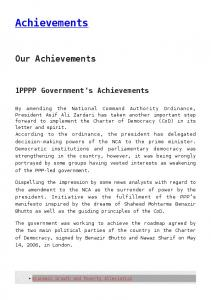 Achievements. Our Achievements. 1PPPP Government's Achievements