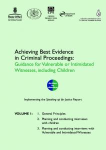 Achieving Best Evidence in Criminal Proceedings: