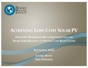 ACHIEVING LOW-COST SOLAR PV