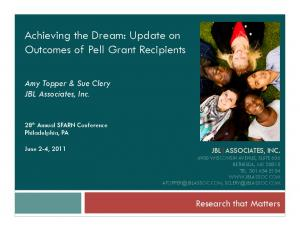 Achieving the Dream: Update on Outcomes of Pell Grant Recipients