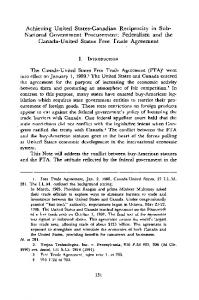 Achieving United States-Canadian Reciprocity in Sub- National Government Procurement: Federalism and the Canada-United States Free Trade Agreement
