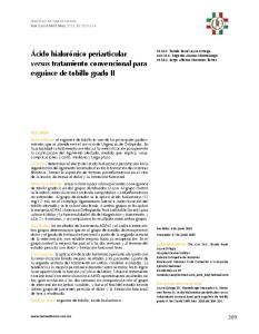 Ácido hialurónico periarticular versus tratamiento convencional para esguince de tobillo grado II