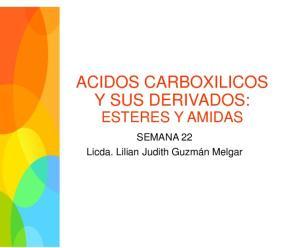 ACIDOS CARBOXILICOS Y SUS DERIVADOS:
