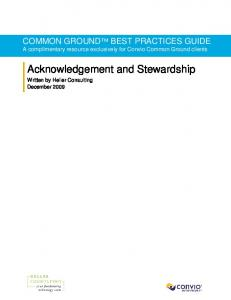 Acknowledgement and Stewardship