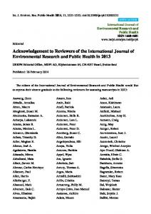 Acknowledgement to Reviewers of the International Journal of Environmental Research and Public Health in 2013