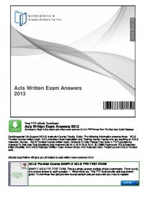 Acls Written Exam Answers 2013