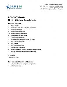 ACMS 6 th Grade School Supply List: