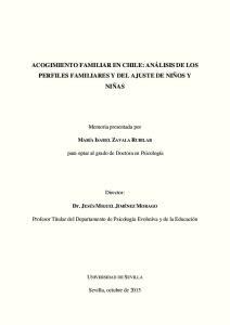 ACOGIMIENTO FAMILIAR EN CHILE: ANÁLISIS DE LOS PERFILES FAMILIARES Y DEL AJUSTE DE NIÑOS Y NIÑAS