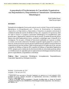 Acompañando el Fortalecimiento de Capacidades Organizativas con Emprendedores y Emprendedoras Comunitarios: Lineamientos Metodológicos