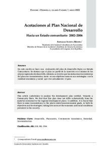 Acotaciones al Plan Nacional de Desarrollo