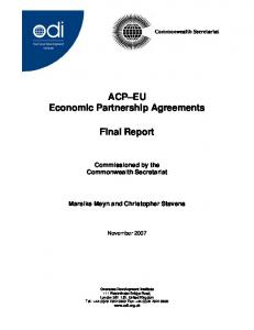 ACP EU Economic Partnership Agreements. Final Report