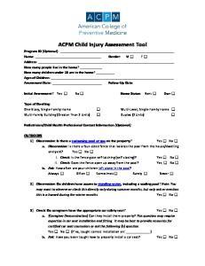 ACPM Child Injury Assessment Tool