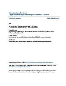 Acquired Immunity to Malaria