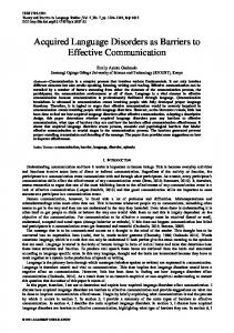 Acquired Language Disorders as Barriers to Effective Communication