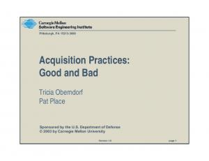 Acquisition Practices: Good and Bad