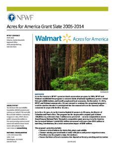 Acres for America Grant Slate