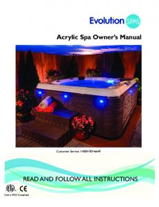 Acrylic Spa Owner s Manual