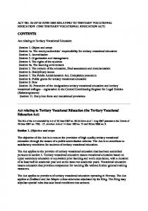 Act relating to Tertiary Vocational Education (the Tertiary Vocational Education Act)