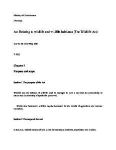 Act Relating to wildlife and wildlife habitants (The Wildlife Act)