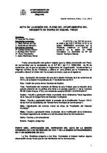ACTA DE LA SESIÓN DEL PLENO DEL AYUNTAMIENTO DEL DIECISIETE DE ENERO DE DOS MIL TRECE