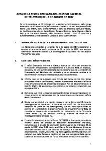 ACTA DE LA SESION ORDINARIA DEL CONSEJO NACIONAL DE TELEVISION DEL 6 DE AGOSTO DE 2007
