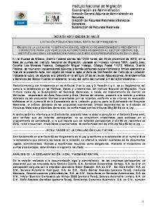 ACTA DE NOTIFICACION DE FALLO