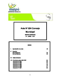 Acta N 834 Concejo Municipal