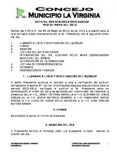 ACTA No. 028 SESIONES ORDINARIAS MES DE MAYO DEL 2013